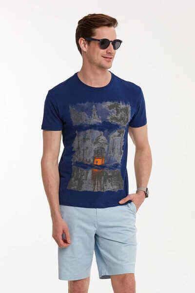 Baskılı Bisiklet Yaka T-Shirt