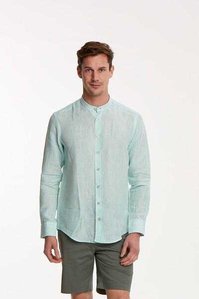 VOLTAJ - Çizgili Keten Slim Fit Erkek Gömlek