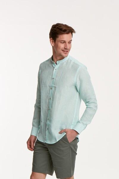 VOLTAJ - Çizgili Keten Slim Fit Erkek Gömlek (1)