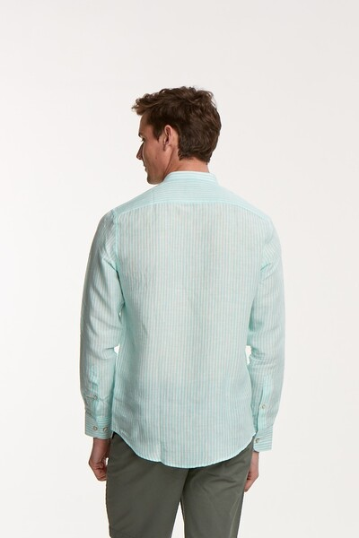 Çizgili Keten Slim Fit Erkek Gömlek - Thumbnail