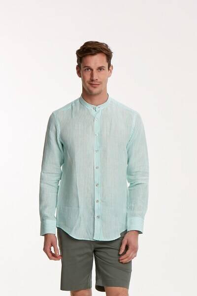 Çizgili Keten Slim Fit Erkek Gömlek
