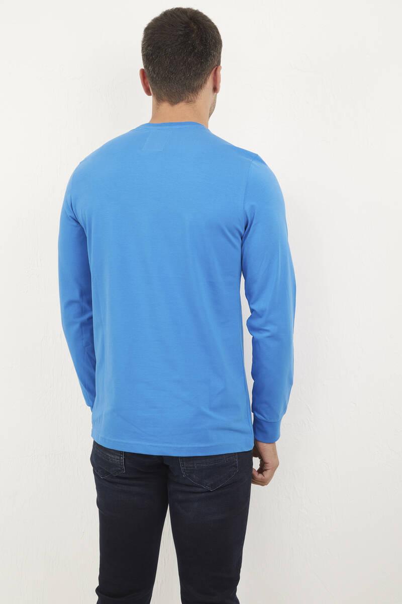 Bisiklet Yaka Baskılı Mavi Sweatshirt