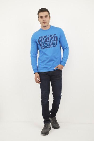 VOLTAJ - Bisiklet Yaka Baskılı Mavi Sweatshirt