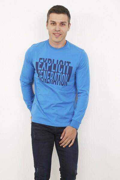 VOLTAJ - Bisiklet Yaka Baskılı Mavi Sweatshirt (1)