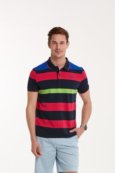 VOLTAJ - Çizgili Polo Yaka Erkek T-Shirt
