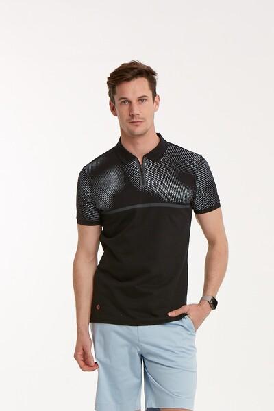 VOLTAJ - Baskılı Fermuarlı Polo Yaka Erkek T-Shirt