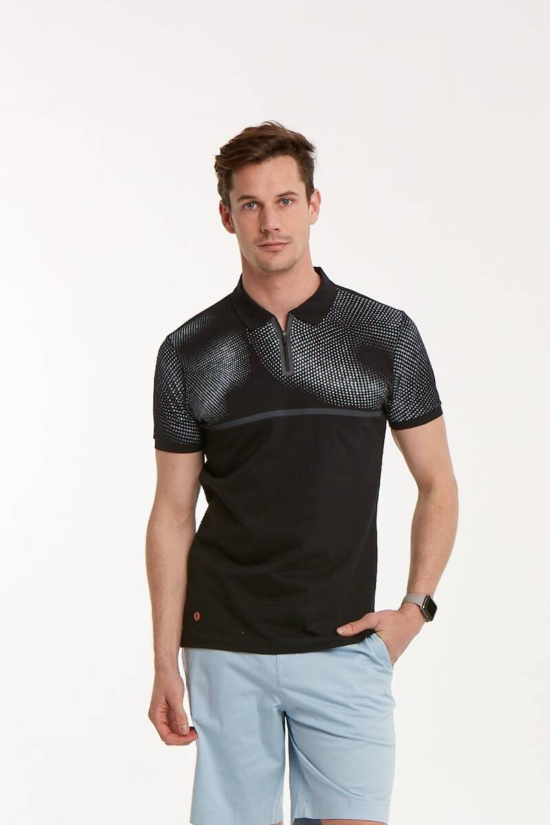 Baskılı Fermuarlı Polo Yaka Erkek T-Shirt