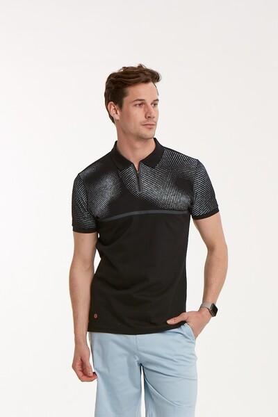 Baskılı Fermuarlı Polo Yaka Erkek T-Shirt - Thumbnail