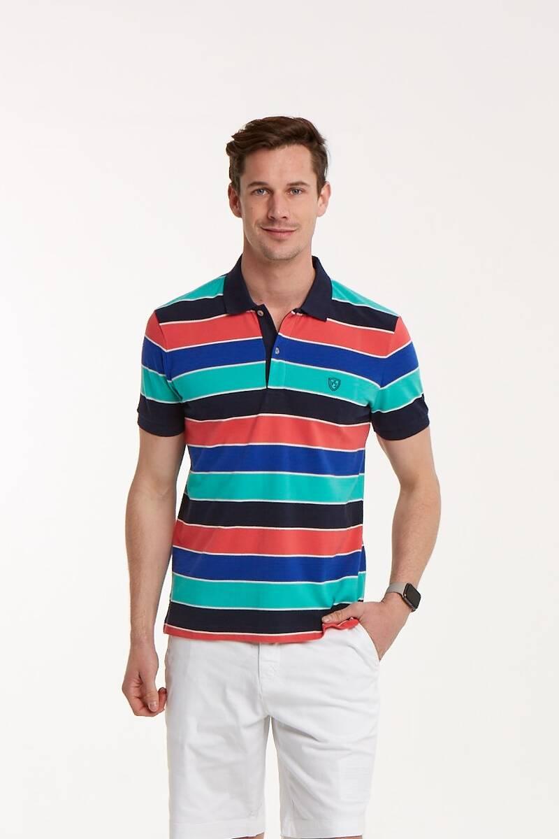 Çizgili Polo Yaka Erkek T-Shirt