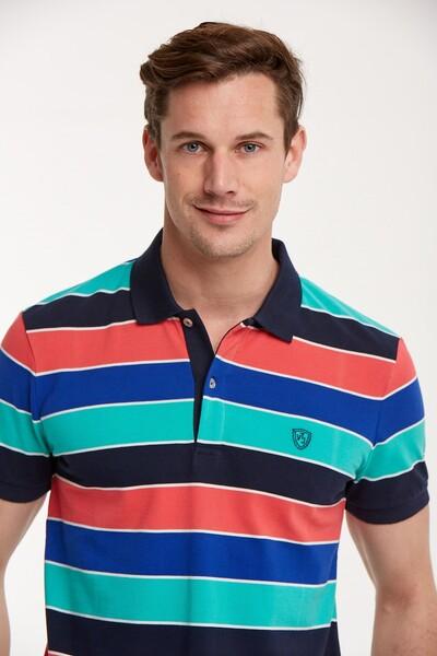 Çizgili Polo Yaka Erkek T-Shirt - Thumbnail