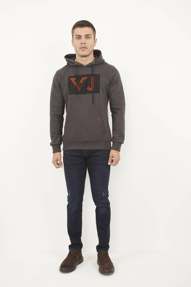 Kanguru Cepli Kapşonlu Baskılı Sweatshirt