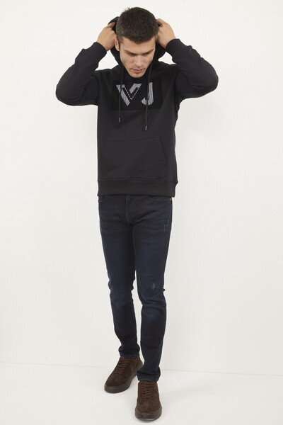 VOLTAJ - Kanguru Cepli Kapşonlu Baskılı Sweatshirt