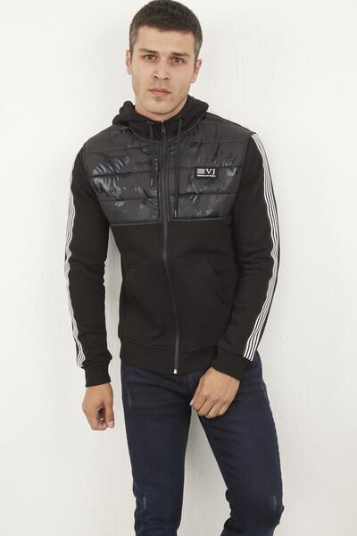 VOLTAJ - Kapşonlu Fermuarlı Armalı Siyah Sweatshirt (1)