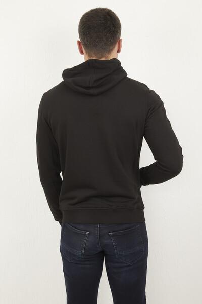 Kapşonlu Fermuarlı Armalı Siyah Sweatshirt - Thumbnail