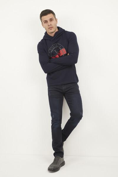 VOLTAJ - Kapşonlu Voltaj Jeans Baskılı Sweatshirt (1)