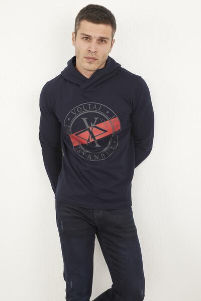 VOLTAJ - Kapşonlu Voltaj Jeans Baskılı Sweatshirt