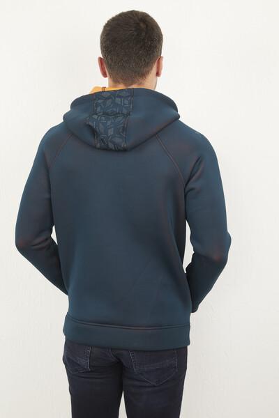 Kapşonlu Fermuarlı Erkek Sweatshirt - Thumbnail