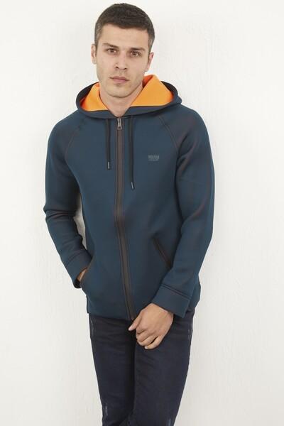VOLTAJ - Kapşonlu Fermuarlı Erkek Sweatshirt (1)