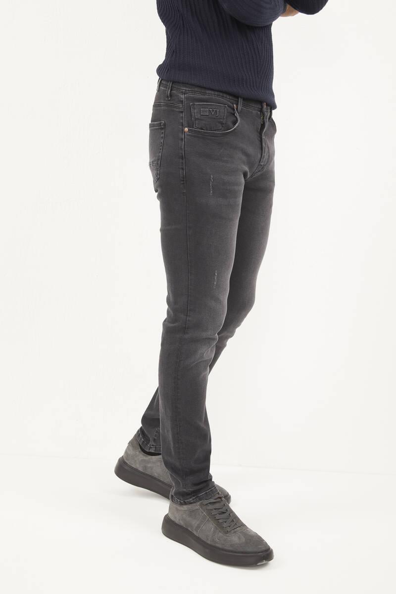 Likralı Slim Fit Antrasit Kot Pantolon