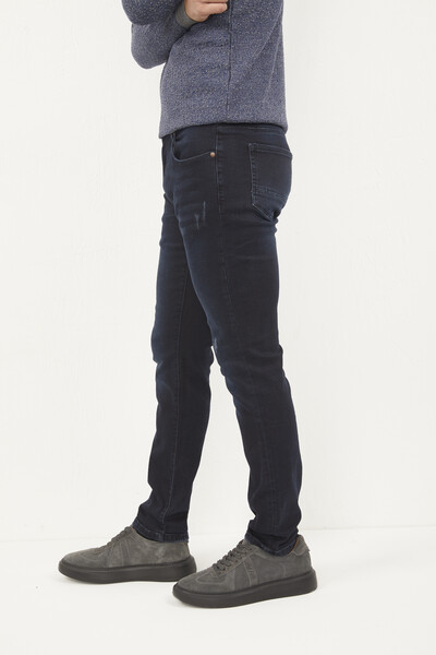 Likralı Slim Fit Lacivert Kot Pantolon - Thumbnail