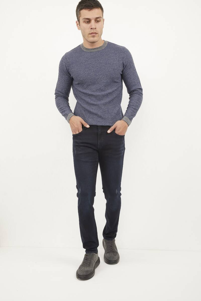 Likralı Slim Fit Lacivert Kot Pantolon