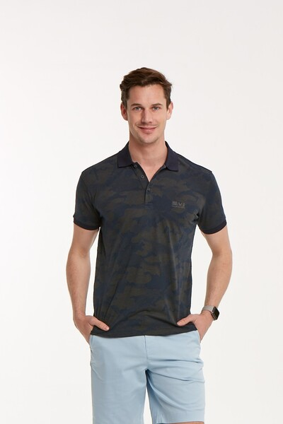 Kamuflaj Desenli Polo Yaka Erkek T-Shirt - Thumbnail