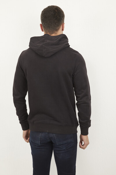 Siyah Kapşonlu Kanguru Cepli Sweatshirt - Thumbnail